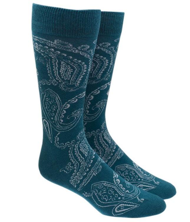 Platform Paisley Green Teal Dress Socks