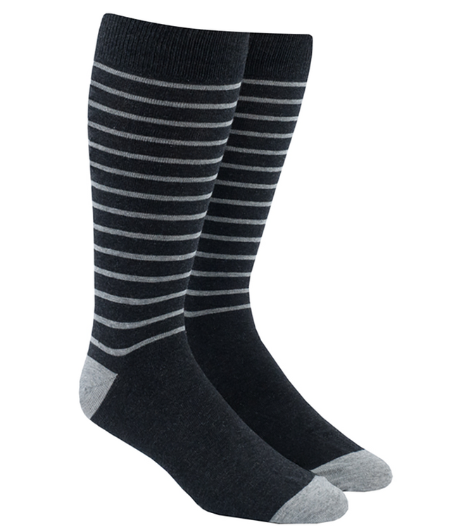 Woodland Stripe Charcoal Dress Socks