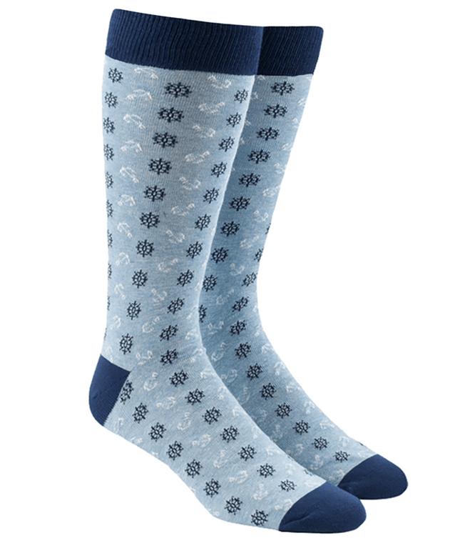 Wheel And Anchor Light Blue Dress Socks