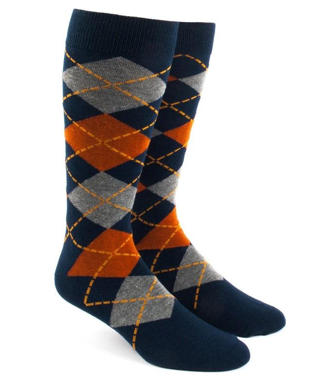 Argyle Orange Dress Socks
