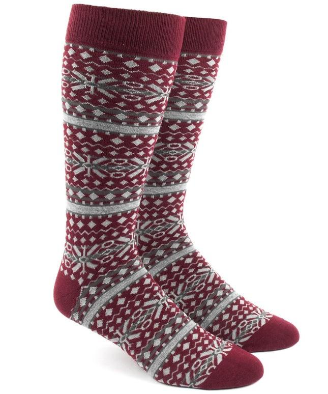 Fair Isle Burgundy Dress Socks