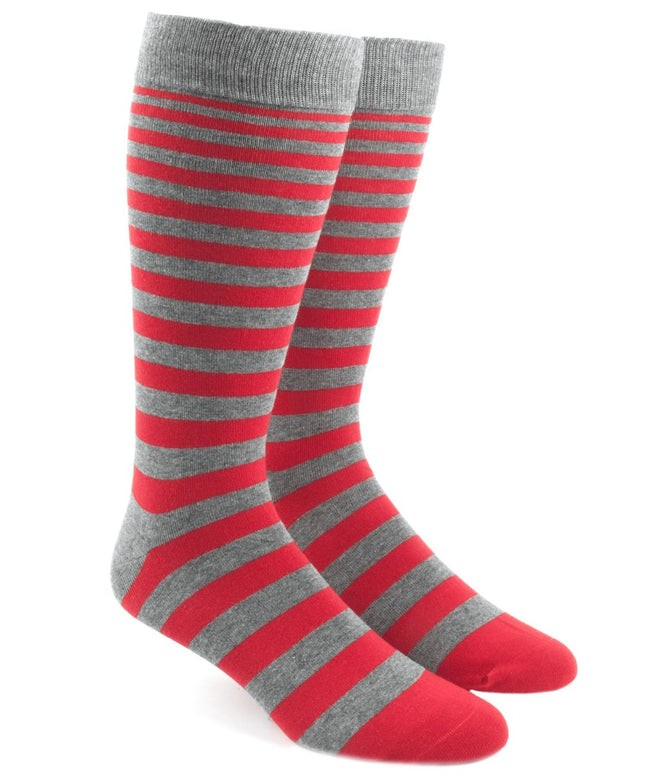 Ombre Stripe Apple Red Dress Socks