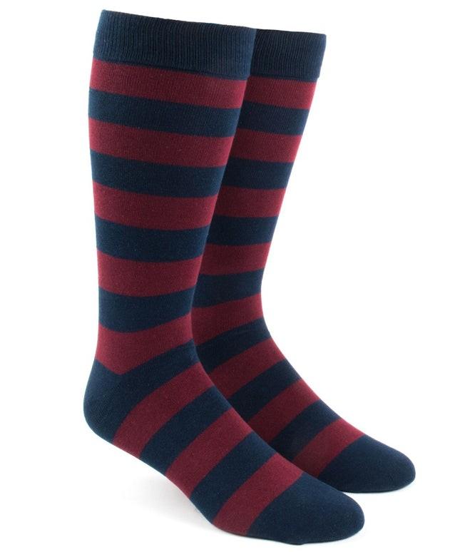 Super Stripe Burgundy Dress Socks
