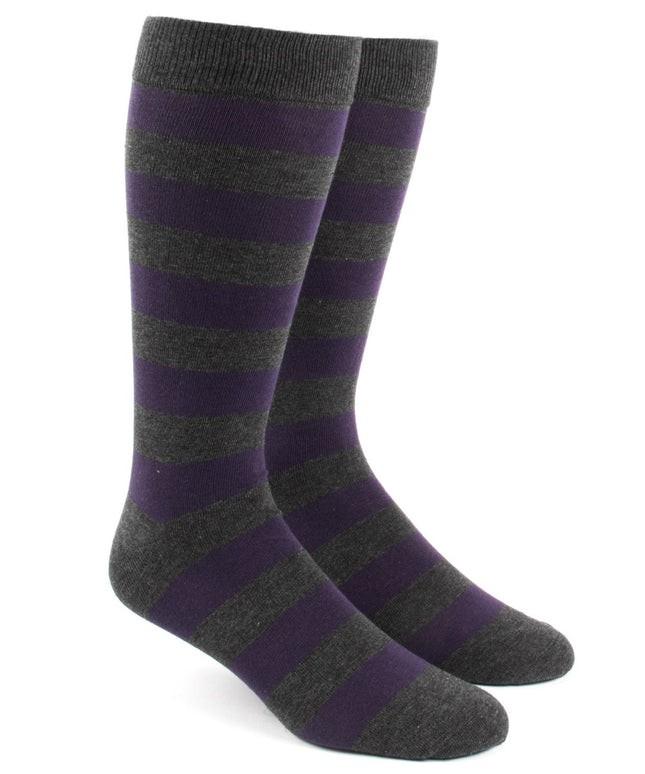 Super Stripe Charcoal Dress Socks
