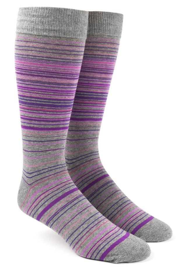 Multistripe Purples Dress Socks
