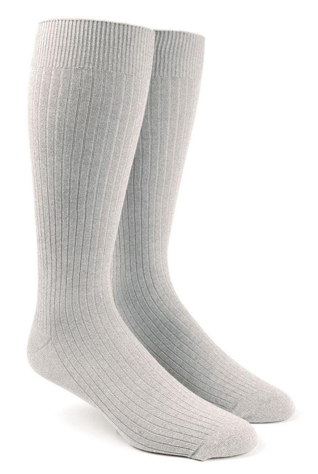 Ribbed Solid Light Grey Dress Socks