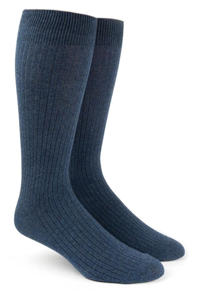Ribbed Solid Navy Dress Socks