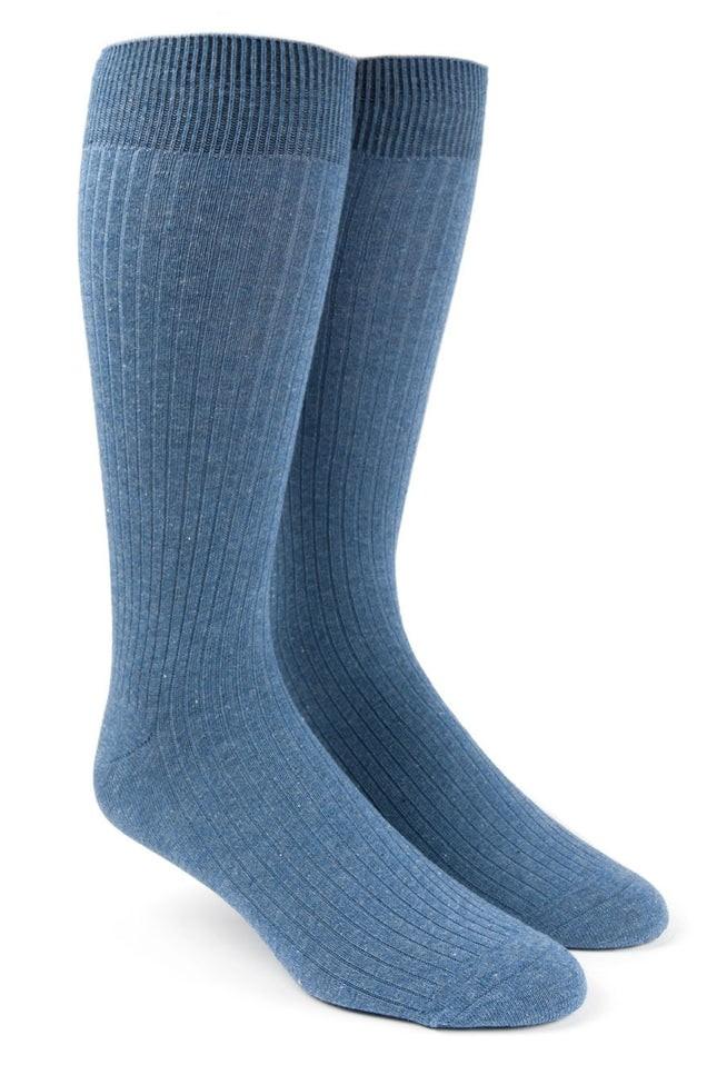 Ribbed Solid Blue Dress Socks
