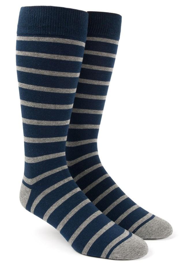 Trad Stripe Classic Navy Dress Socks