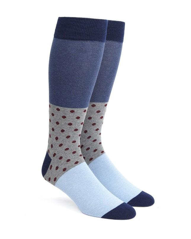 Colorblock Dots Burgundy Dress Socks