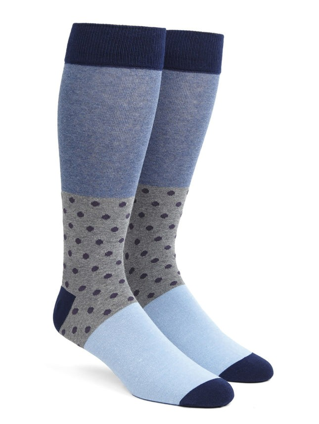 Colorblock Dots Eggplant Dress Socks