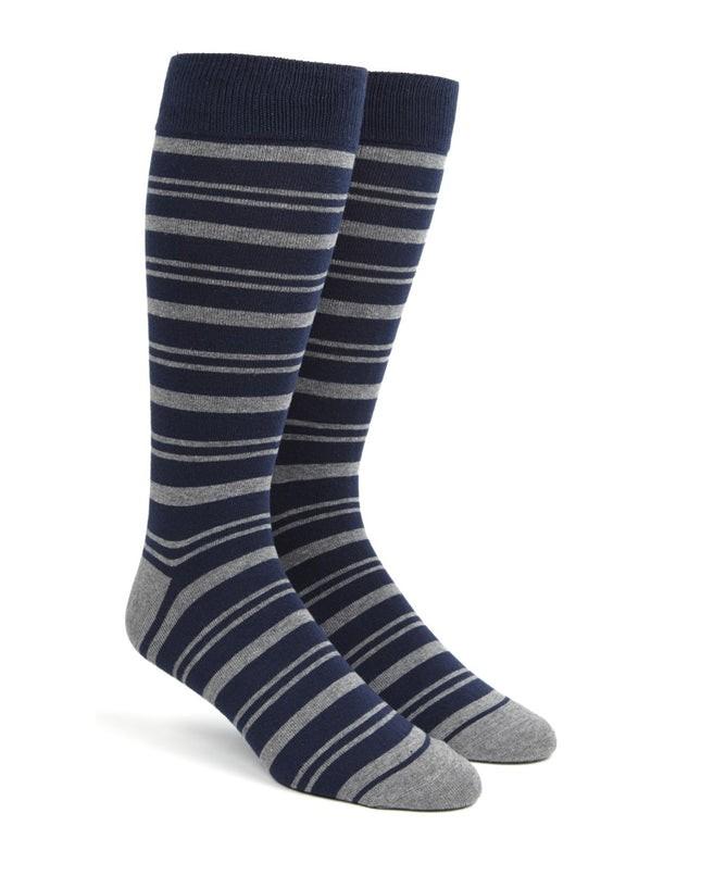 Path Stripe Navy Dress Socks