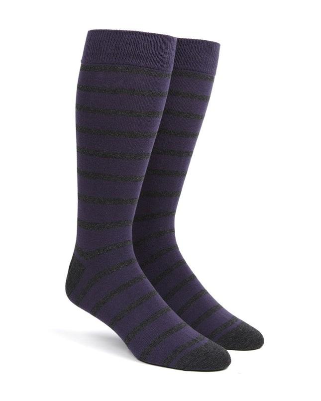 Trad Stripe Purple Dress Socks