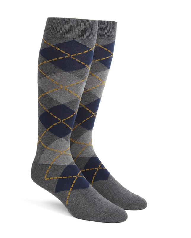 Argyle Greys Dress Socks