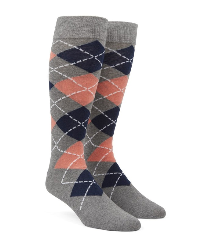 Argyle Peach Dress Socks