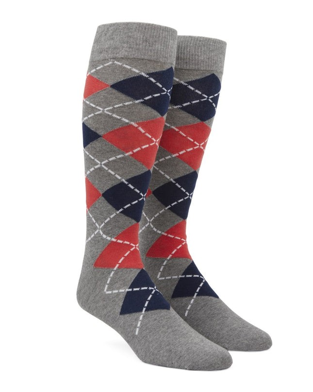 Argyle Coral Dress Socks