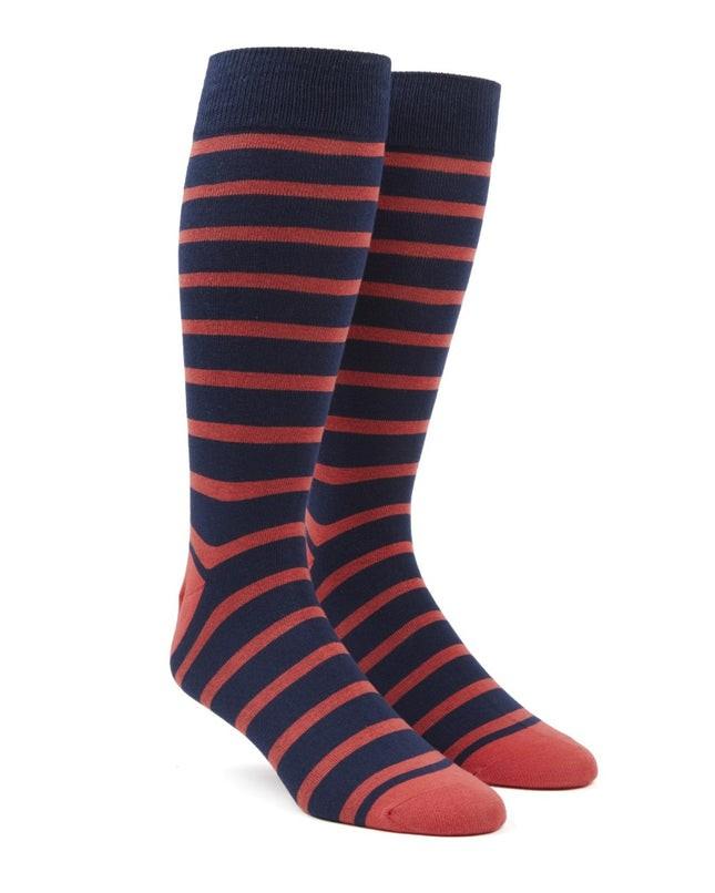 Trad Stripe Persimmon Red Dress Socks