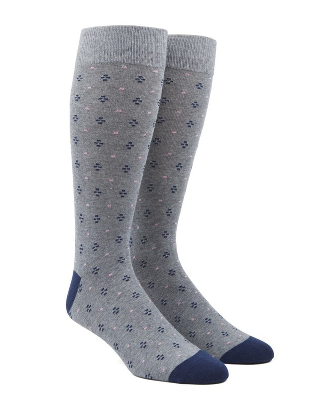 Geo Key Grey Dress Socks