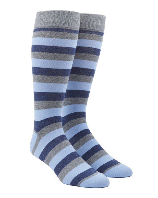 Varios Stripe Light Blue Dress Socks