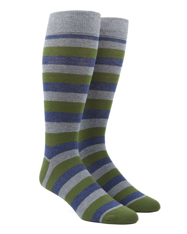 Varios Stripe Clover Green Dress Socks