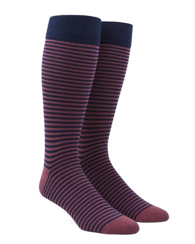 Thin Stripes Dusty Rose Dress Socks