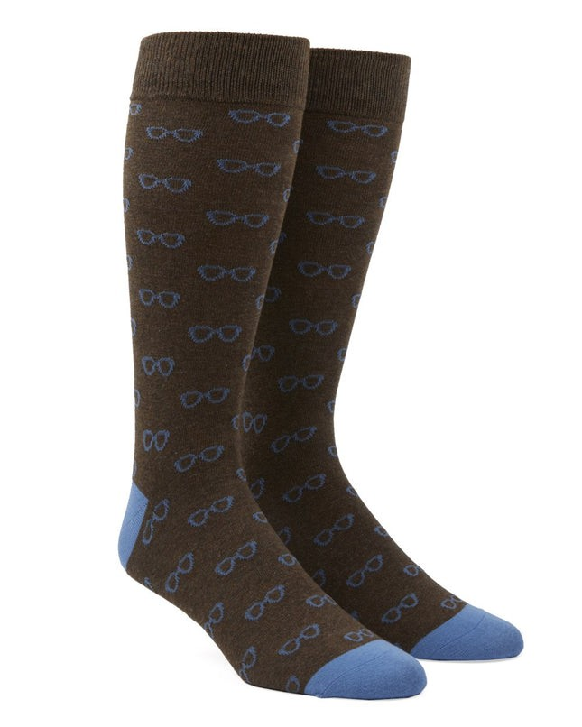 Glasses Brown Dress Socks