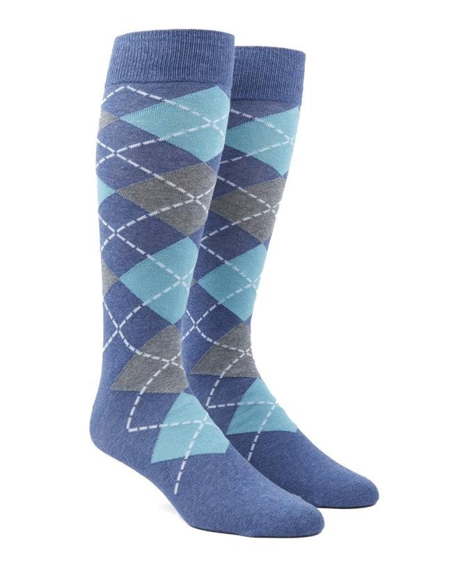 Argyle Aqua Dress Socks