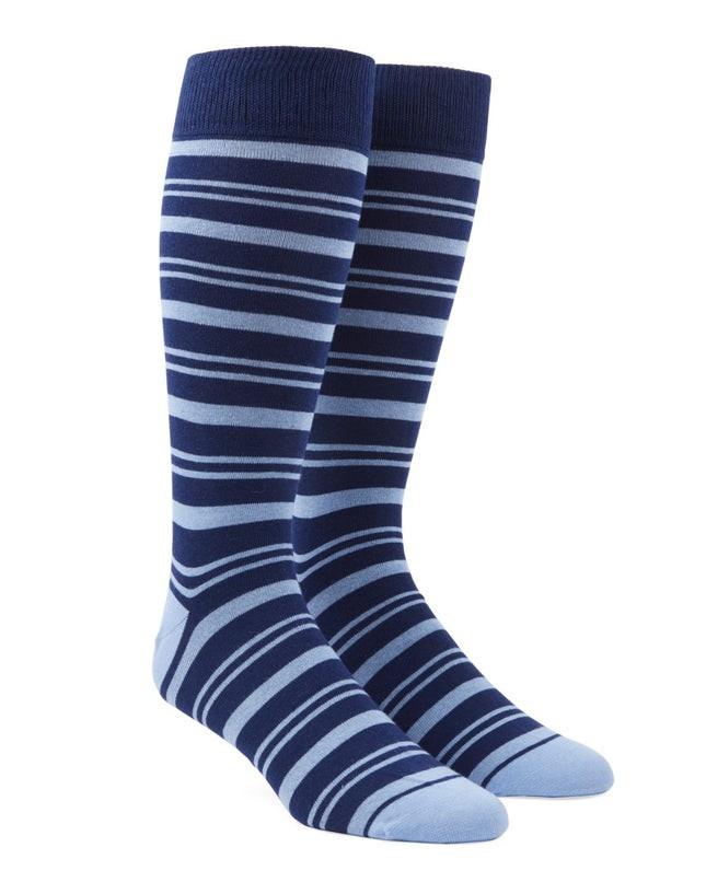 Path Stripe Light Blue Dress Socks