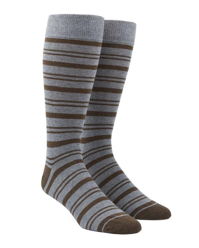 Path Stripe Brown Dress Socks