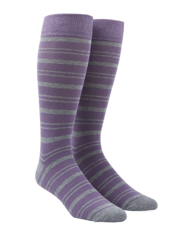Path Stripe Lavender Dress Socks