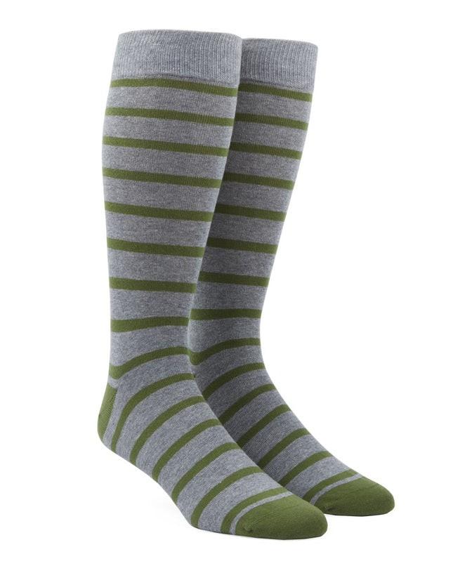 Trad Stripe Green Dress Socks