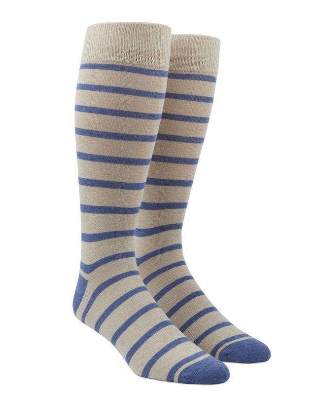 Trad Stripe Khaki Dress Socks