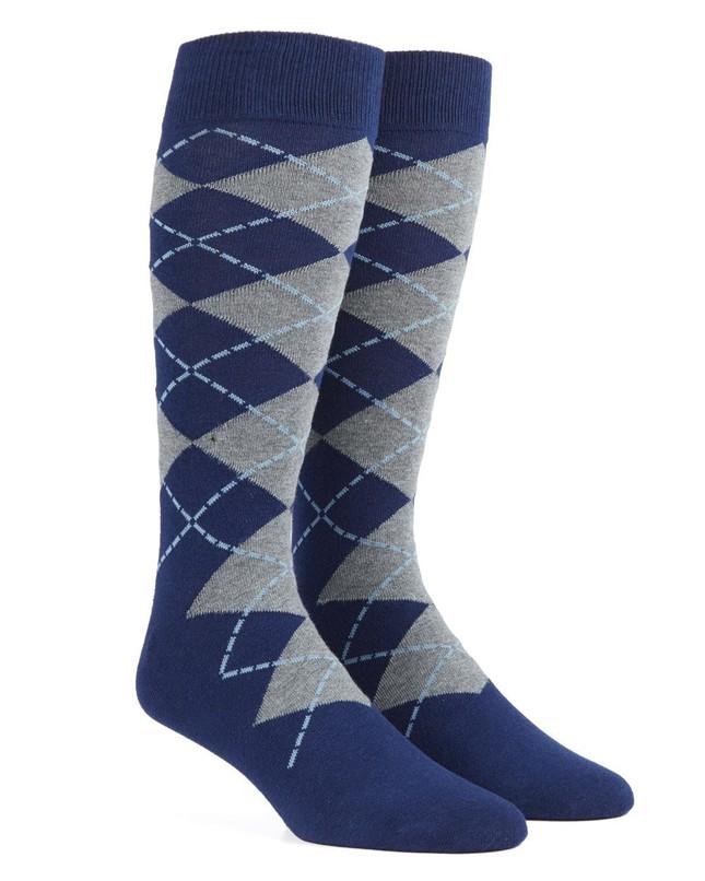 New Argyle Navy Dress Socks