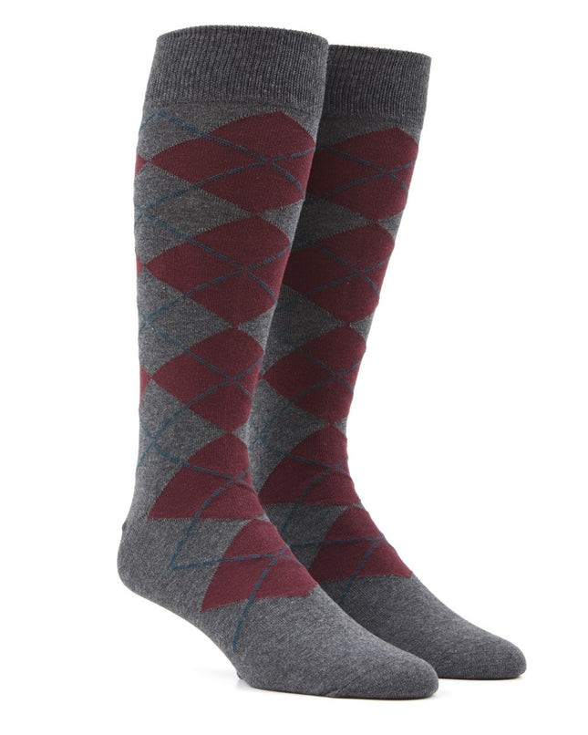 New Argyle Burgundy Dress Socks