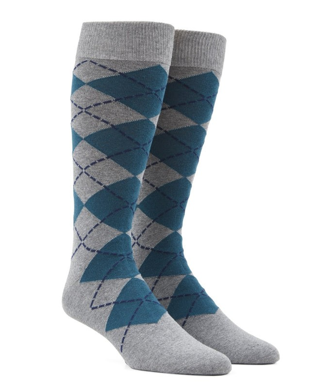 New Argyle Green Teal Dress Socks