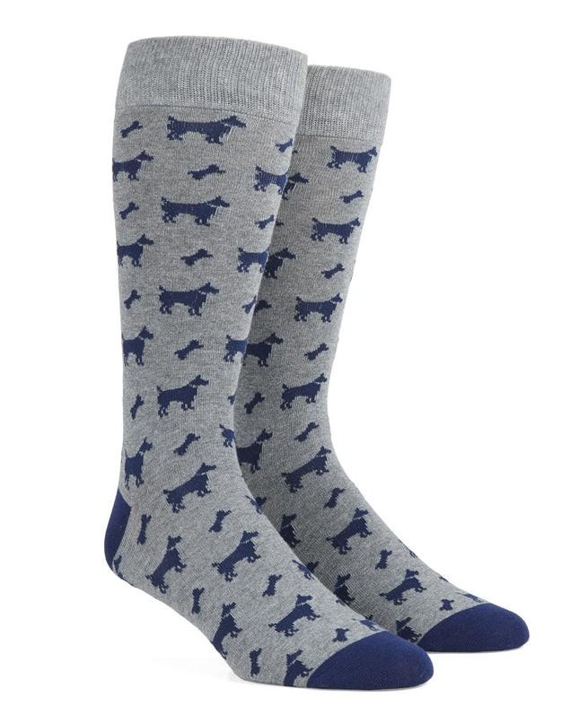 Dog Bone Navy Dress Socks