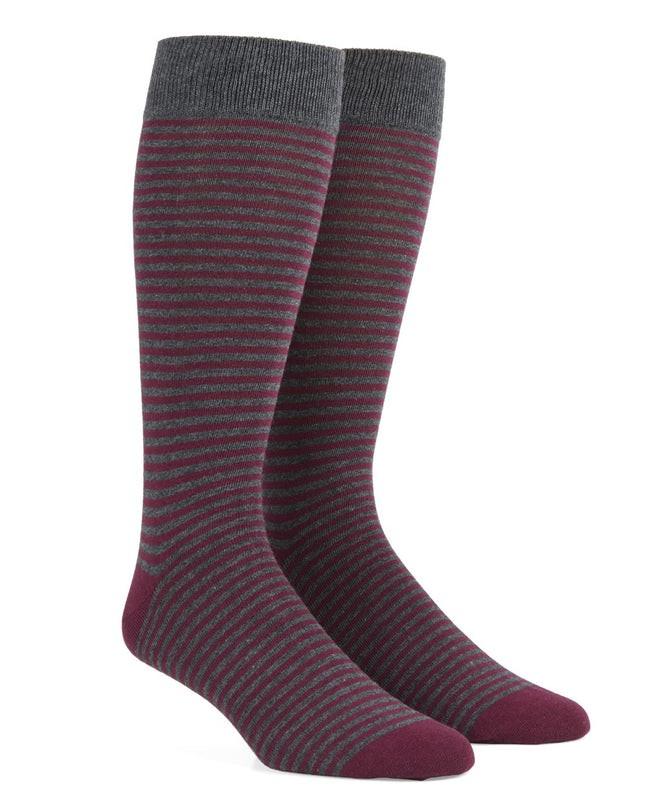 Thin Stripes Wine Dress Socks