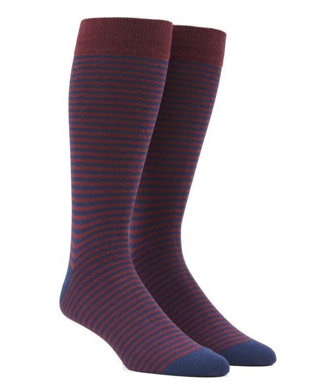 Thin Stripes Burgundy Dress Socks
