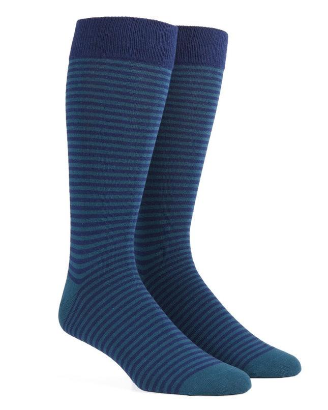 Thin Stripes Green Teal Dress Socks