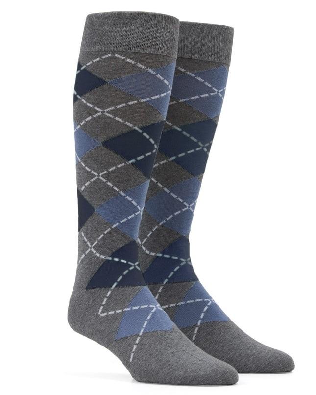 Argyle Slate Blue Dress Socks