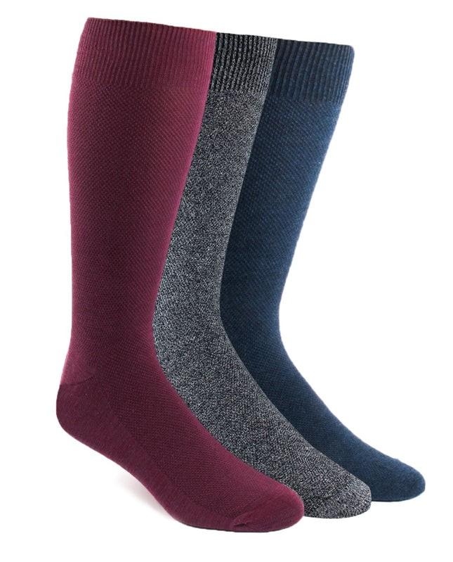 Solid Texture Sock Pack Blue Dress Socks