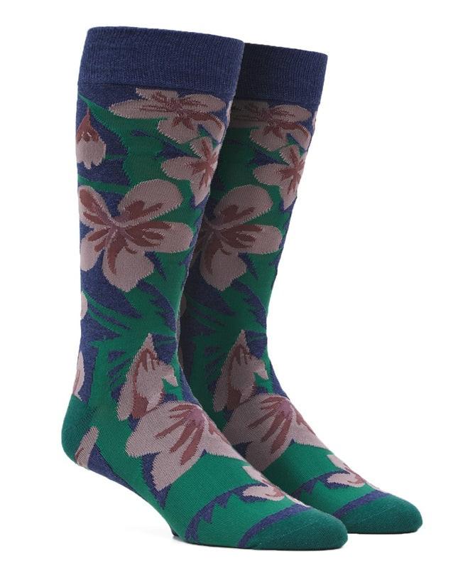 Oversized Tropical Floral Navy Dress Socks