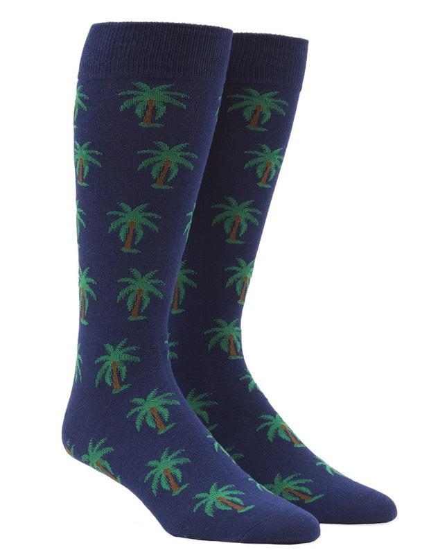 Palm Trees Navy Dress Socks