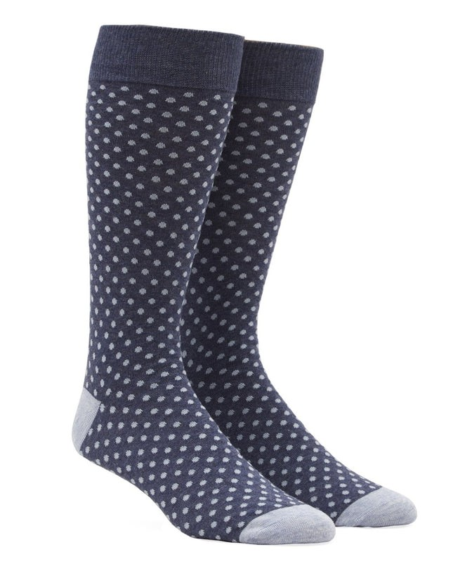 Pindot True Navy Dress Socks