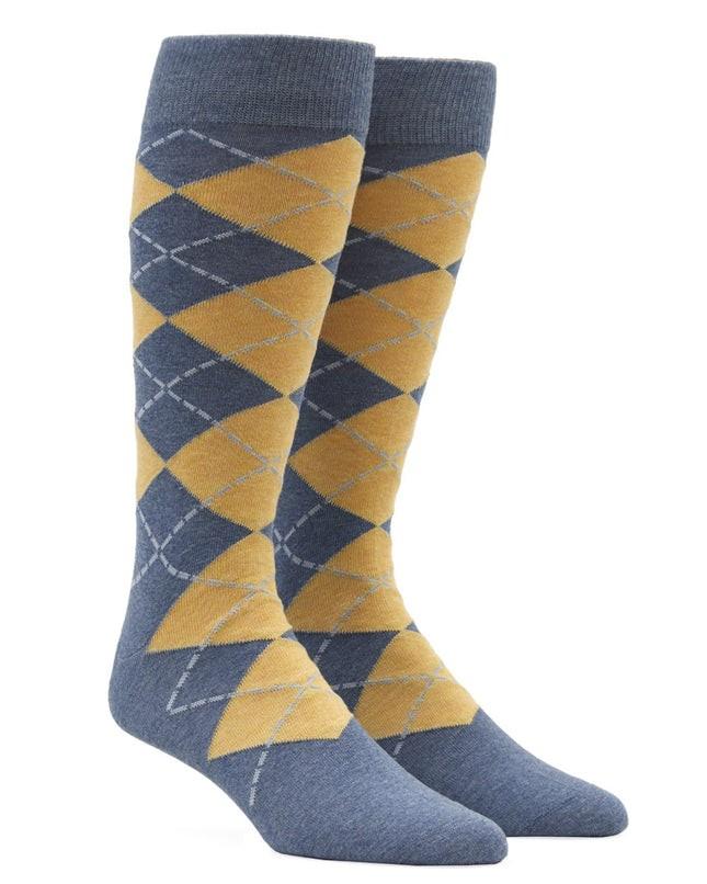 New Argyle Yellow Dress Socks