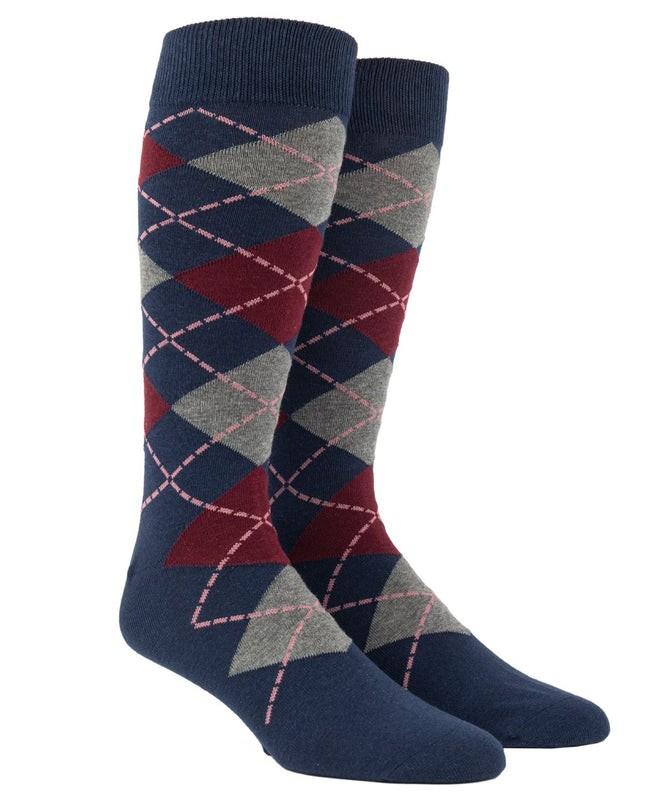 Argyle Deep Burgundy Dress Socks