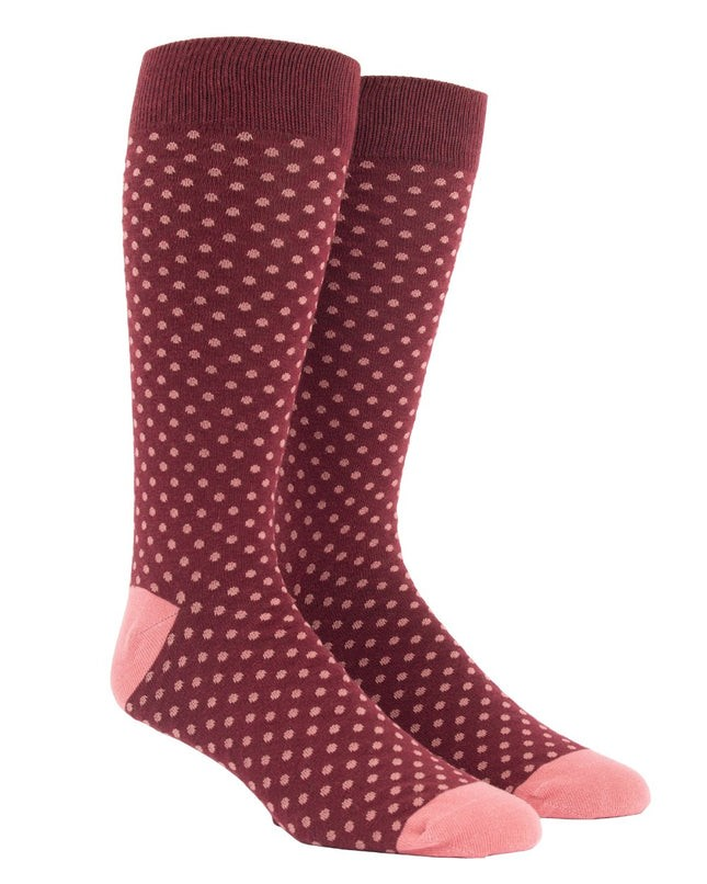 Pindot Deep Burgundy Dress Socks