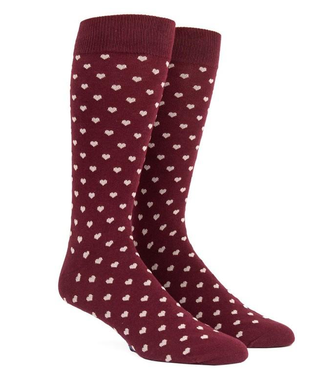 Band Of Hearts Burgundy Dress Socks