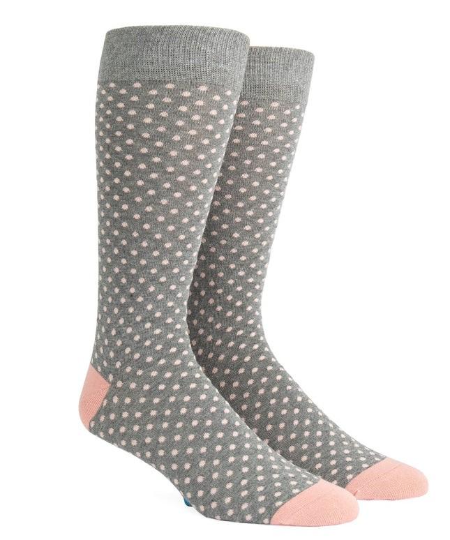 Pindot Soft Grey Dress Socks