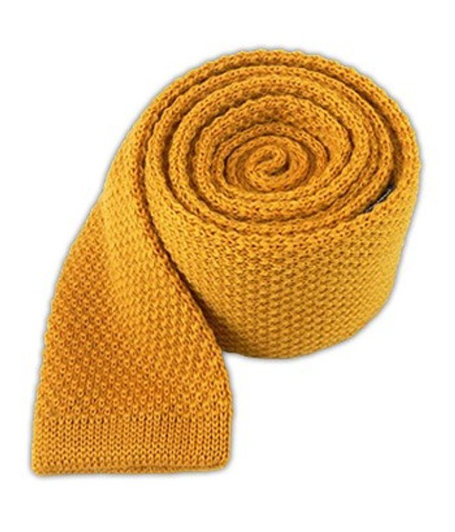 Knit Solid Wool Yellow Daisy Tie